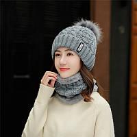 Комплект зимний шапочка с помпоном  и хомут,  вязка и плюш, серый, опт, фото 1