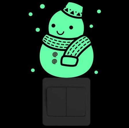 """Люминесцентная наклейка """"Снеговик"""" - 15*10см (набирают свет и светятся в темноте)"""