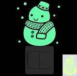"""Люминесцентная наклейка """"Снеговик"""" - 15*10см (набирают свет и светятся в темноте), фото 2"""