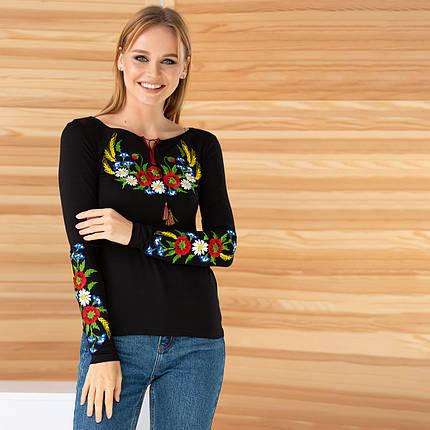 Трикотажная вышиванка женская с цветами Колосок, фото 2