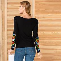 Трикотажная вышиванка женская с цветами Колосок, фото 3