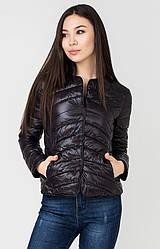 Женская ультралегкая стеганая черная короткая куртка пиджак на кнопках 52