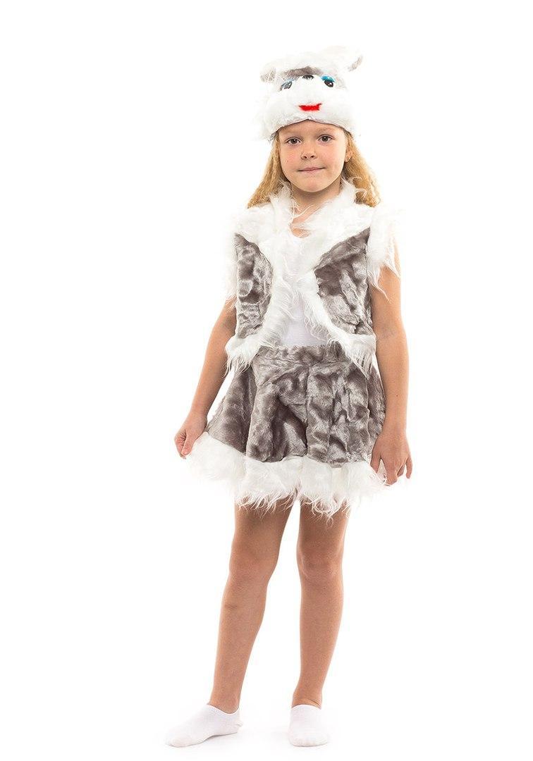 Детский карнавальный маскарадный костюм Зайчик серый с шортиками и юбкой размер универсальный 104-122 см