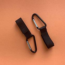 Металлические карабины - крючки на ремешке с липучкой