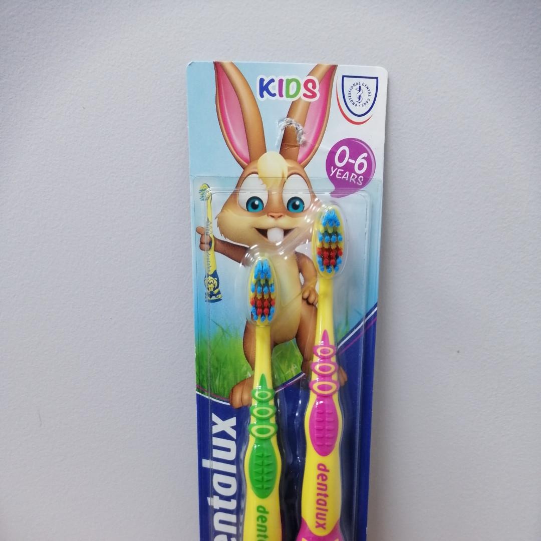 Зубная щетка Dentalux Kids от 0 до 6лет (розовая, зеленая), 2шт