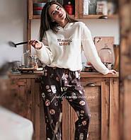 Пижама женская теплая с печеньками 🍪🥛 флис