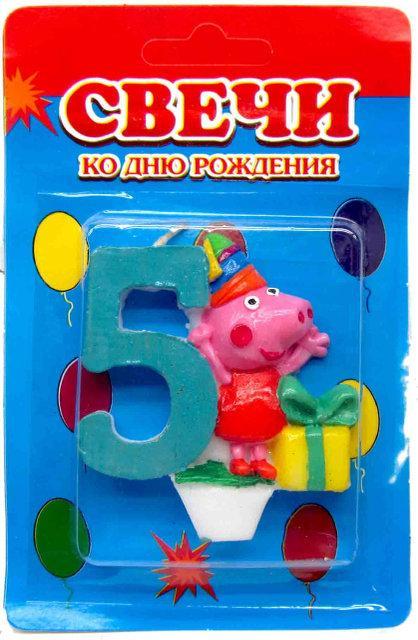 Свічка цифра на торт Свинка Пеппа - 5 1324