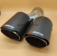 Насадки глушителя двойные Akrapovic Акрапович Audi Volkswagen Porsсhe BMW Mini 63mm-2х90mm
