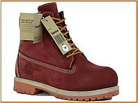 Зимние женские ботинки Timberland Bordo (Тимберленд, бордовые) внутри натуральный мех