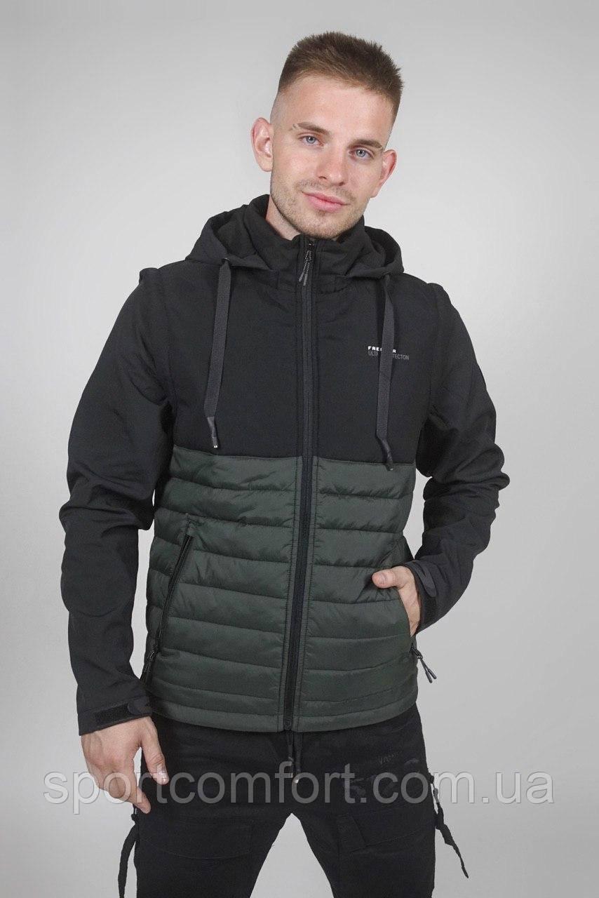 Мужская куртка-трансформер Freever черня,хаки