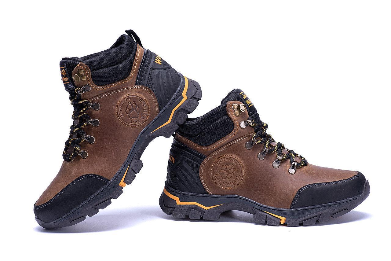 Ботинки зимние мужские кожаные Jack Wolfskin Outdoor Olive реплика