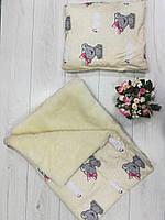Детское одеяло+подушка «Тедди беж», на овчина