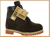 Зимние женские ботинки Timberland Brown (Тимберленд, коричневые) внутри мех