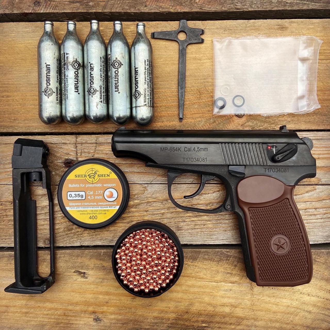 Пневматический пистолет Байкал МР-654К + баллоны SAS, шары, ремкомплект