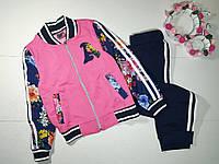 Спортивный костюм ЦВЕТОЧНЫЙ для девочки 6-7 лет