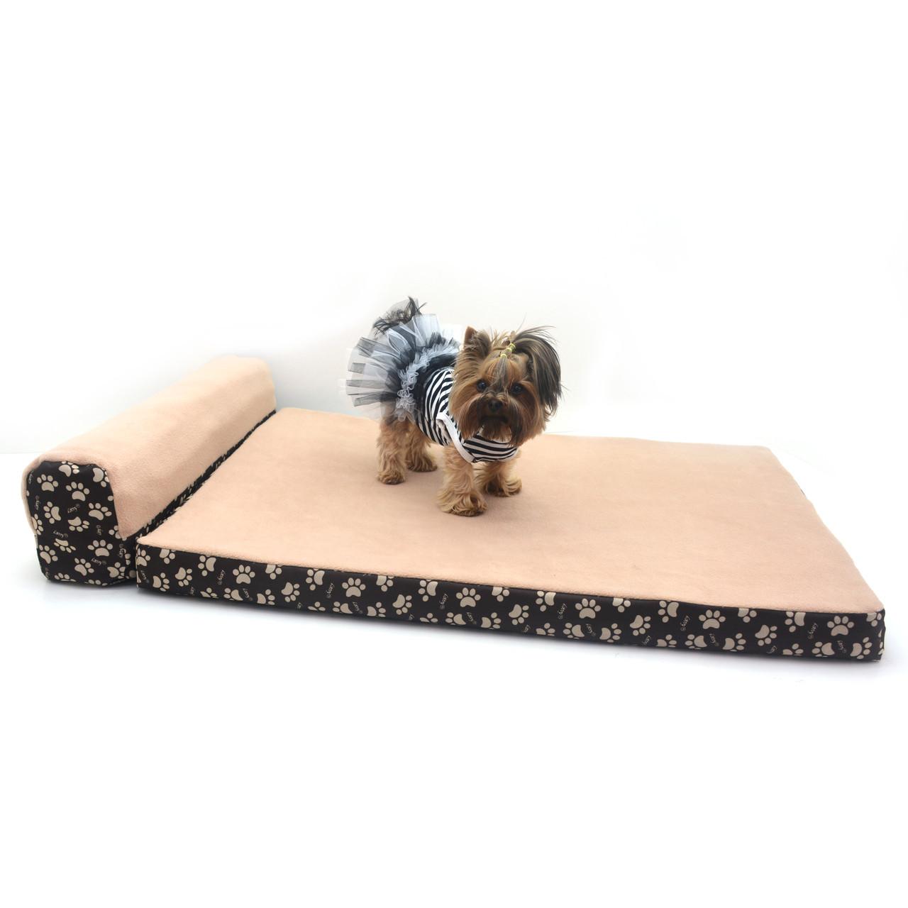 Матрас для собак и котов Глория коричневый + бежевый