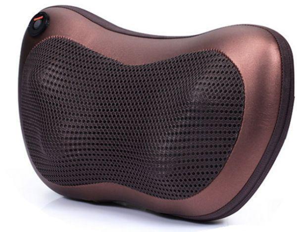 Массажер SUNROZ Neck Massager Pillow массажная подушка для области шеи и головы, Коричневый