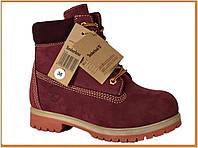 Зимние женские ботинки Timberland Bordo (Тимберленд, бордовые) внутри шерстяной мех