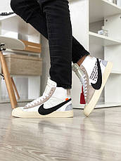 Кроссовки мужские Nike Blazer Mid x Off White белые (Top replic), фото 2