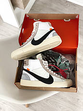 Кроссовки мужские Nike Blazer Mid x Off White белые (Top replic), фото 3