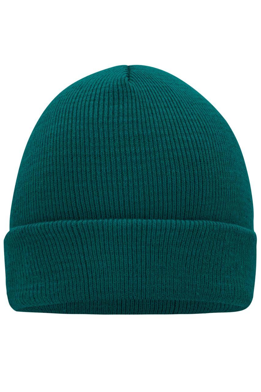 Вязаная шапка с отворотом темно-зеленая 7500-38