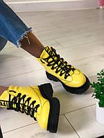 Модные зимние женские кожаные ботинки желтого цвета