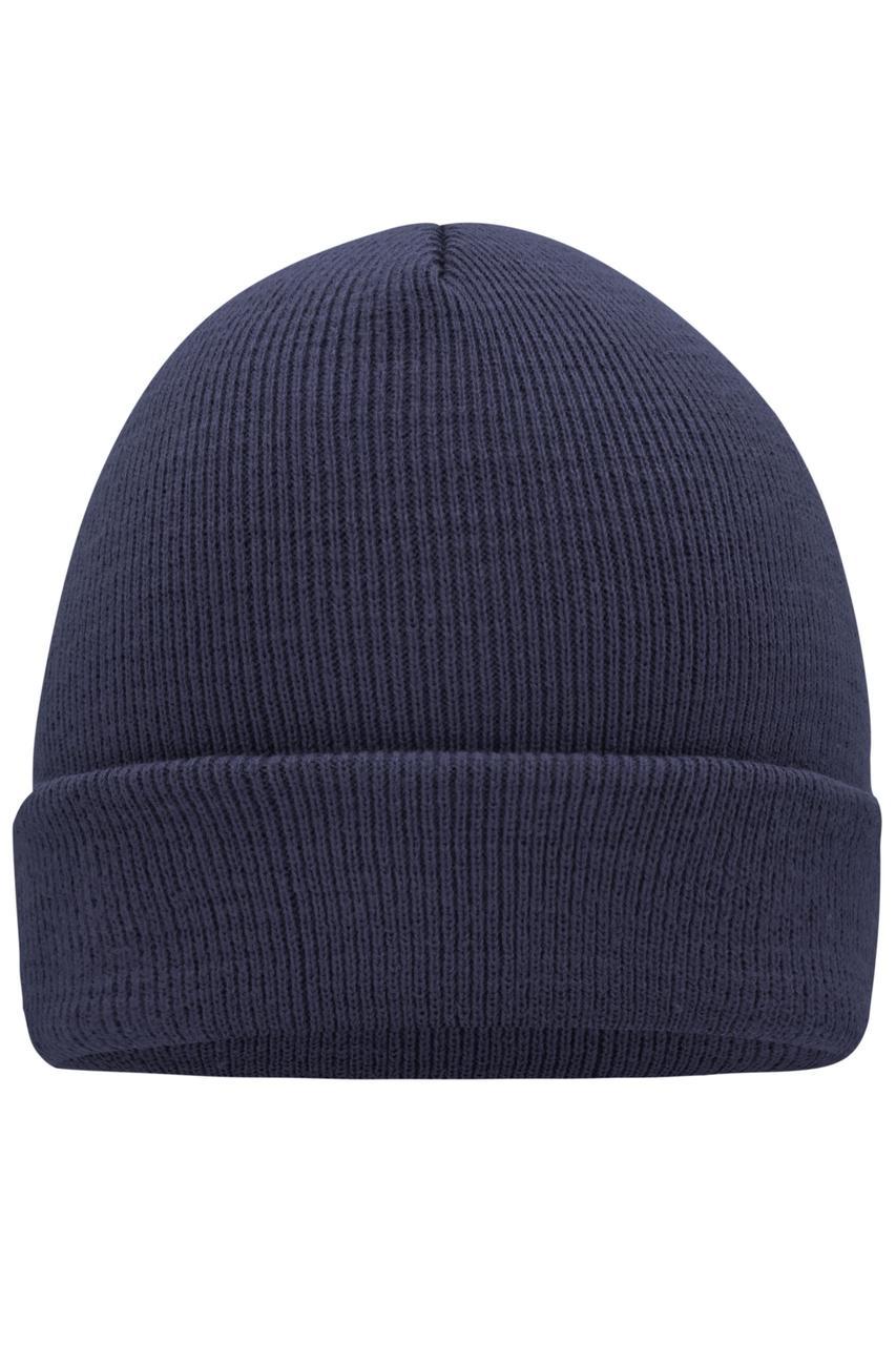 Вязаная шапка с отворотом темно-синяя 7500-АЗ