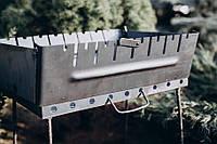 Мангал-чемодан на 6 шампуров с чехлом, 2 мм. разборной, складной, переносной, компактный для шашлыка и гриля