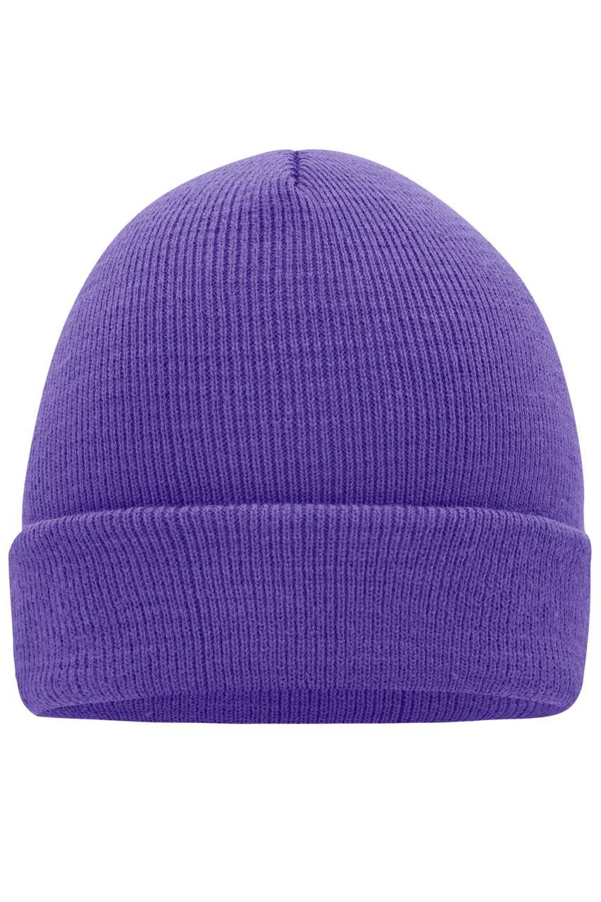 Вязаная шапка унисекс с отворотом фиолетовая 7500-РЕ