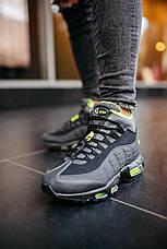 Кроссовки мужские теплые Nike 95 Sneakerboot черные-салатовые (Top replic), фото 3