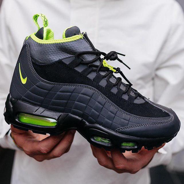 Кроссовки мужские теплые Nike 95 Sneakerboot черные-салатовые (Top replic)