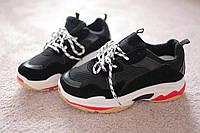 Женские кроссовки черные в стиле Balenciaga Triple S черные 39 размер