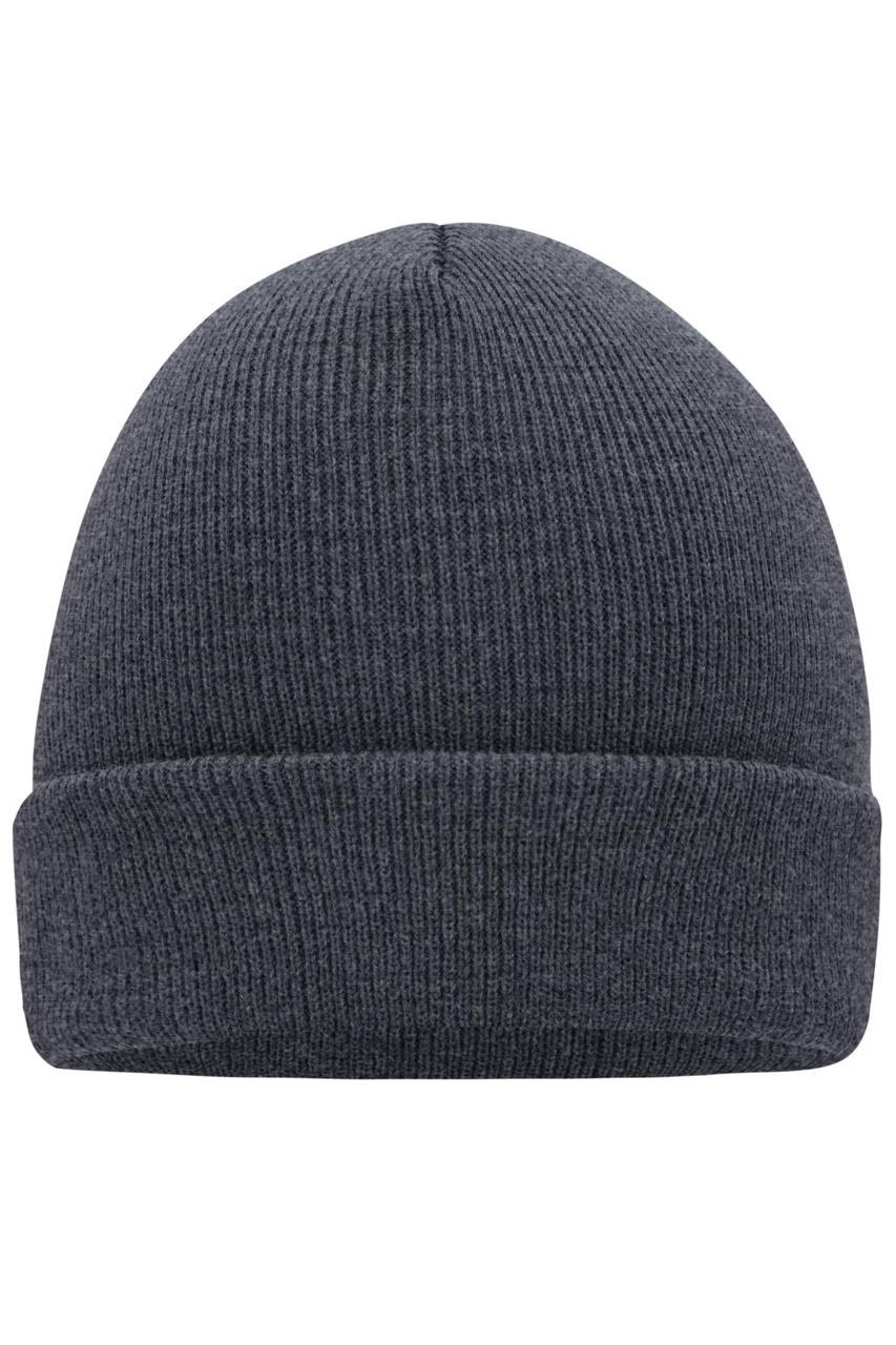 Вязаная шапка унисекс с отворотом темно-серая 7500-ГЛ