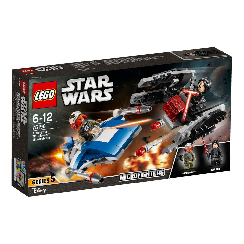 Lego Star Wars Истребитель A-Wing против истребителя TIE Кайло Рена 75196