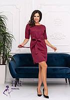 Женское трикотажное платье свободного кроя с поясом и рукавом до локтя, фото 1