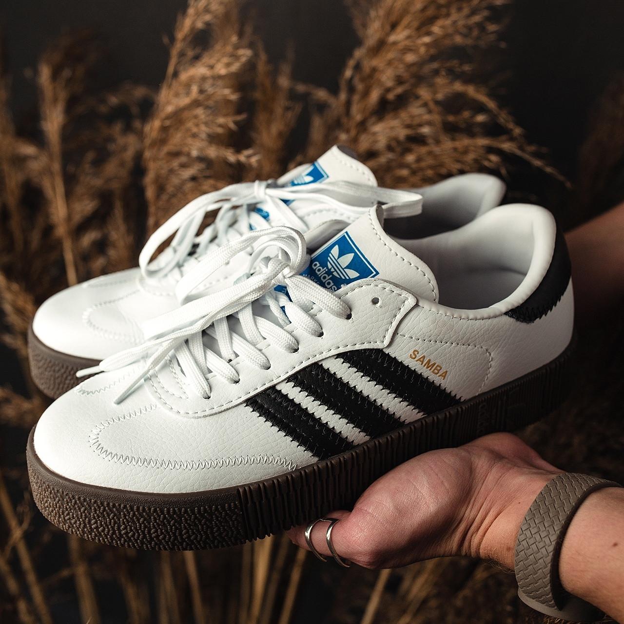 Кроссовки женские Adidas SAMBA ROSE белые-черные полоски (Top replic)