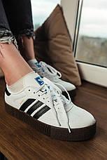 Кроссовки женские Adidas SAMBA ROSE белые-черные полоски (Top replic), фото 3