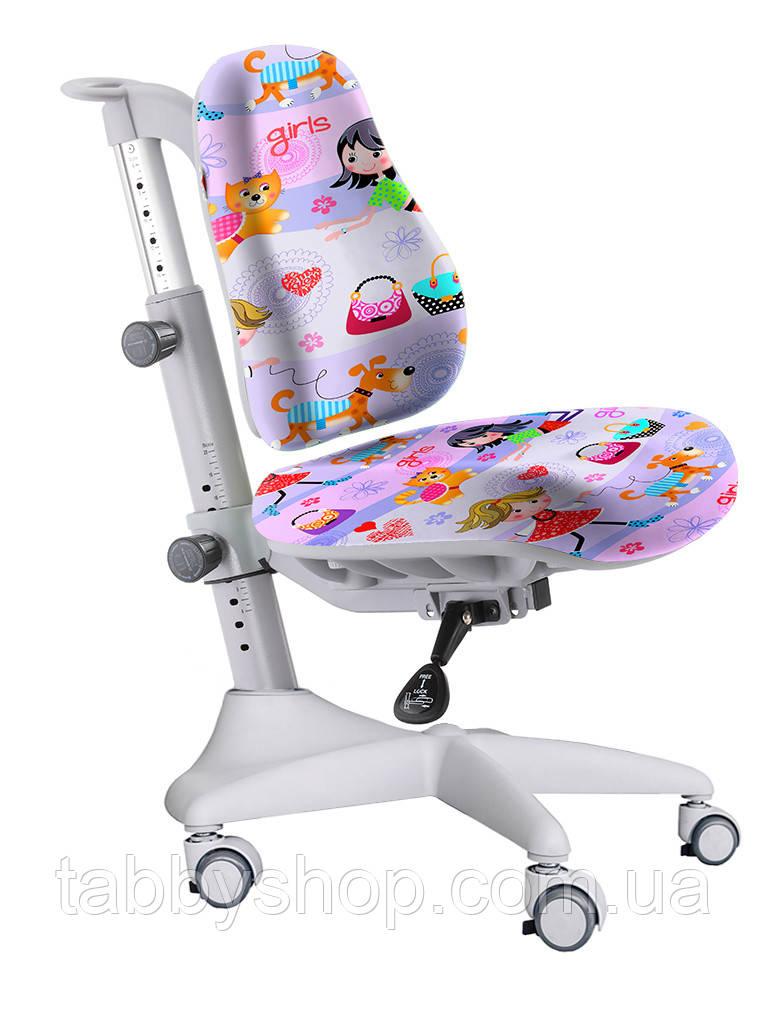 Детское регулируемое кресло MEALUX Match Y-528 GL gray base (обивка фиолетовая с девочками)