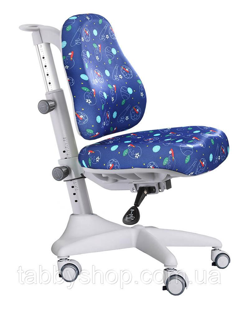 Детское регулируемое кресло MEALUX Match Y-528 F gray base (обивка синяя с мячиками)