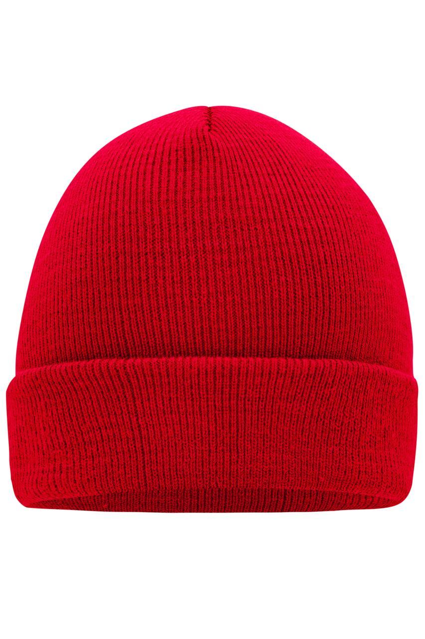 Вязаная шапка унисекс с отворотом красная 7500-40