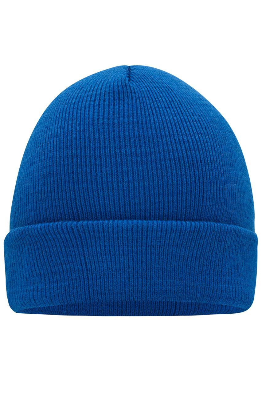 Вязаная шапка унисекс с отворотом синяя 7500-51