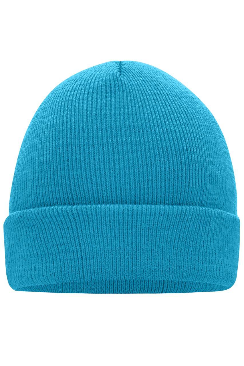 Вязаная шапка унисекс с отворотом бирюзовая 7500-ЗУ