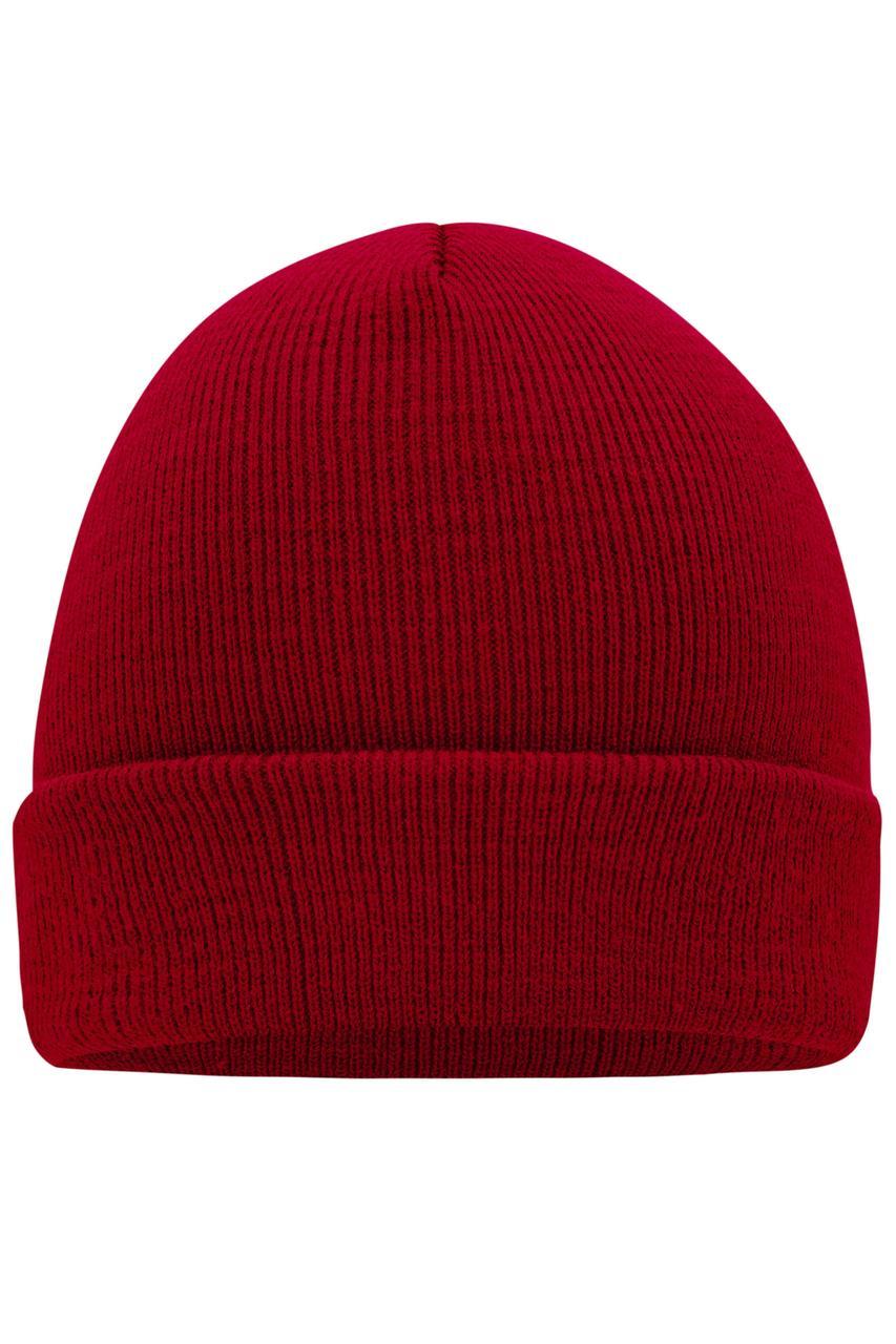 Вязаная шапка унисекс с отворотом бордовая 7500-41