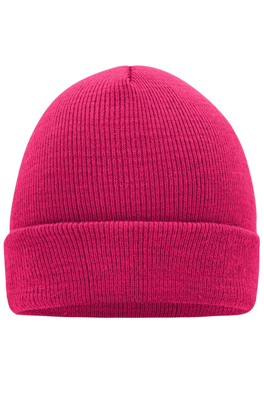 Вязаная шапка унисекс с отворотом малиновая 7500-57