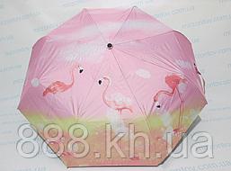 Жіночий напівавтомат зонт однотонний з Фламінго по куполу двосторонній