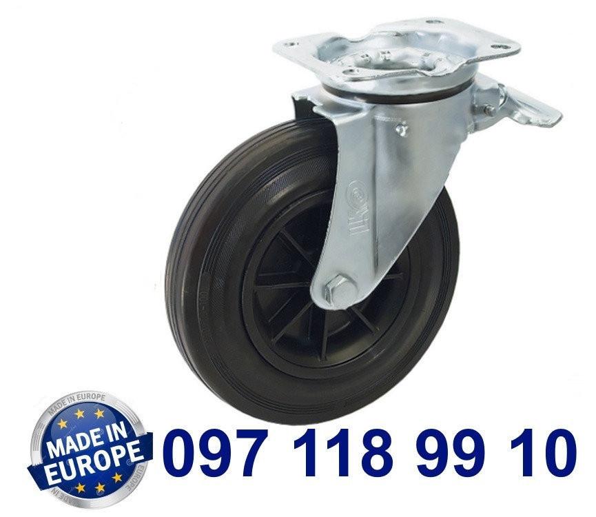 Колесо поворотное с крепежной панелью и тормозом.