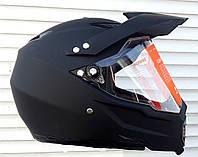 Шлем кроссовый чёрный матовый Эндуро c визиром