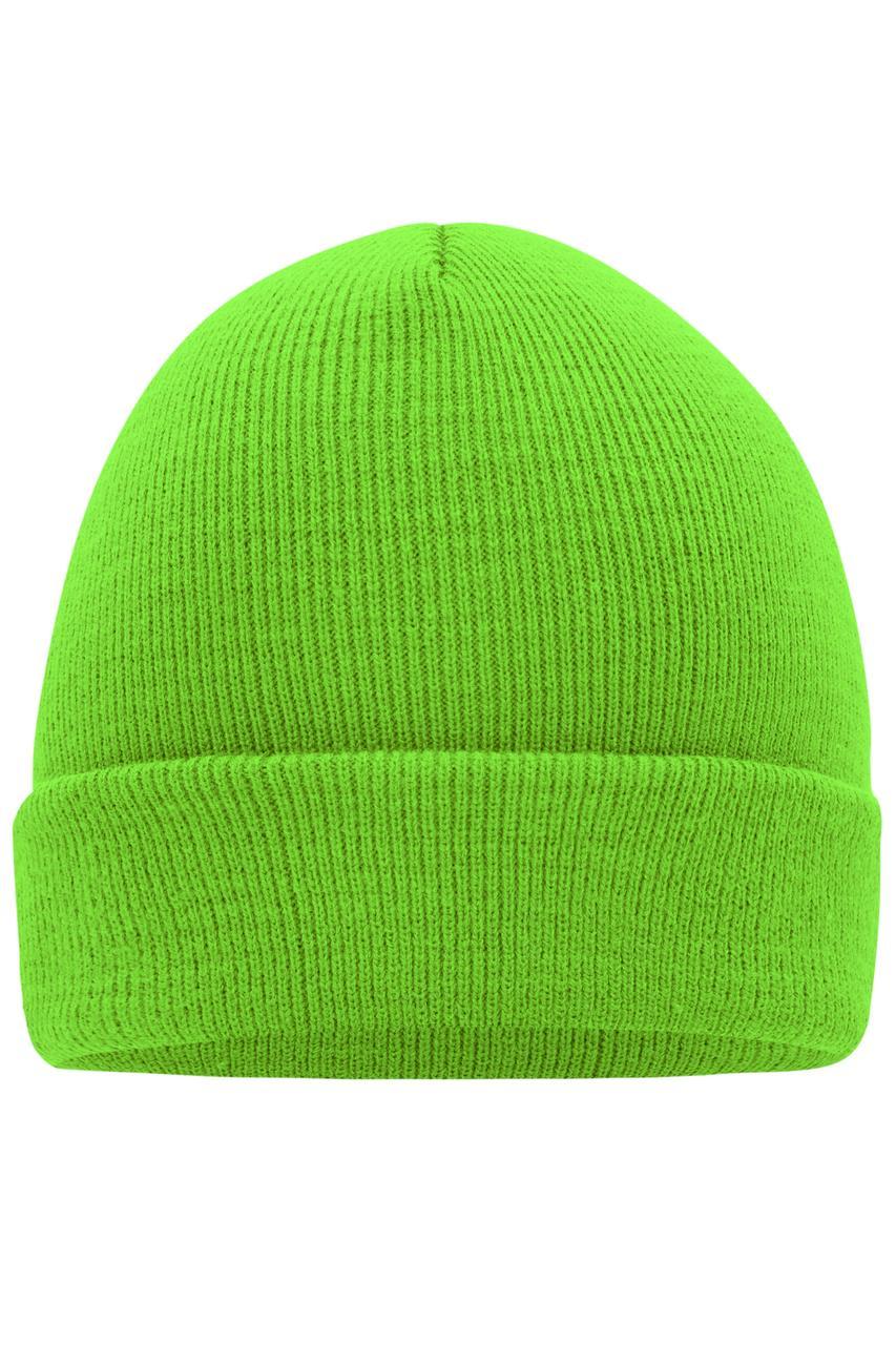 Вязаная шапка унисекс с отворотом салатовая 7500-ЛМ