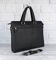Сумка мужская для документов, портфель Giorgio Armani 6618-3 черный, 38*29*8 см
