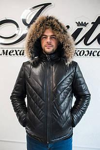 Кожаный Пуховик Мужской Овчина Зима 003НМ